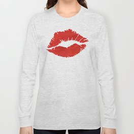 fire engine red lips Long Sleeve T-shirt