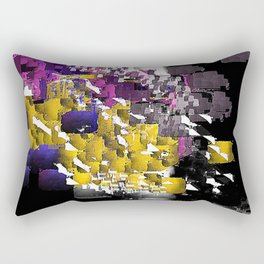 Decorative Abstract in Purple, Blue, Black, Yellow, and White Rectangular Pillow