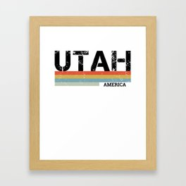 Retro Vintage Stripes Utah Gift & Souvenir Product Framed Art Print