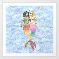lesbian Art Prints featuring lesbian mermaids by ElenaM