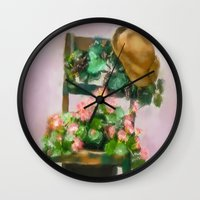 hats Wall Clocks featuring Hats Off by Mary Timman