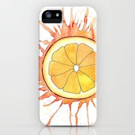 Splash Orange Slice Watercolor Painting iPhone Case