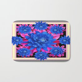 Decorative Blue-Purple Tropical Grey Floral Bath Mat