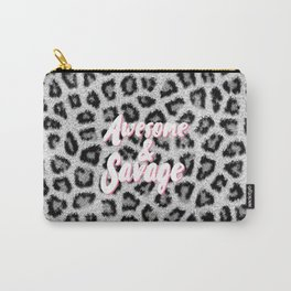 Trendy black white animal print pink brush typography Carry-All Pouch