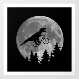 Biker t rex In Sky With Moon 80s Parody Art Print