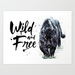 Panther watercolor painting predator animals puma jaguar wild & fre Art Print