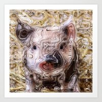 piglet Art Prints featuring scribbled Piglet by MehrFarbeimLeben