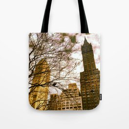 seeing through the trees, clouds ahead. Tote Bag