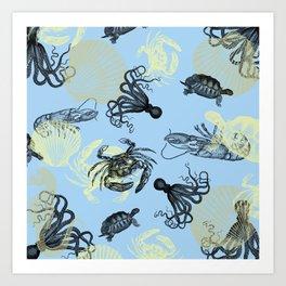 Vintage Sea Creatures Art Print