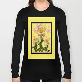 Three  Yellow Roses Dream Catcher Webs Art Long Sleeve T-shirt