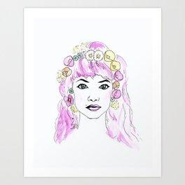 Imogen with Flower Crown Art Print