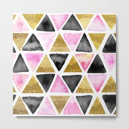 Chic Watercolor Pink, Black, and Gold Geometric Triangle Pattern Metal Print