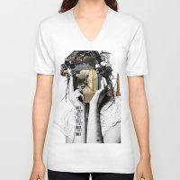 megan lara V-neck T-shirts featuring Crazy Woman - Lara Lisa Bella by Marko Köppe