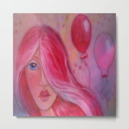 Whimsy Girl with Red Hair Metal Print