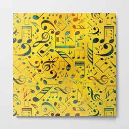 Fun Colorful  Music Notes Pattern on yellow watercolor Metal Print