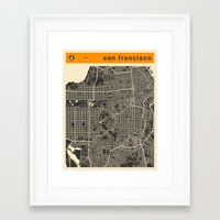 san francisco map Framed Art Prints featuring San Francisco Map by Jazzberry Blue