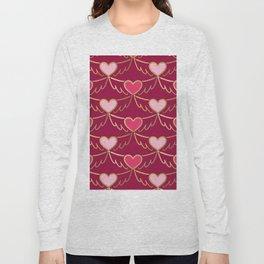 Golden Wings of Love (pattern) wine Long Sleeve T-shirt