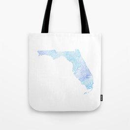 Typographic Florida - blue watercolor Tote Bag