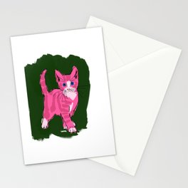 Pink cat, blue eyes Stationery Cards