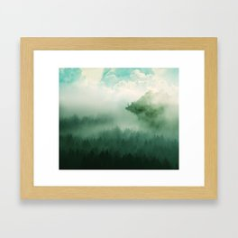 Mystical Forests - Forest tapestry, atmospheric tapestry, foggy forest, relaxing forest, green Framed Art Print
