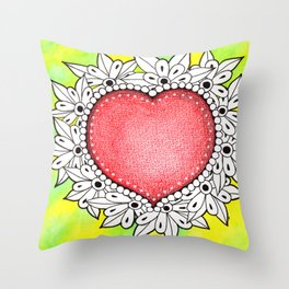 Watercolor Doodle Art | Heart Throw Pillow