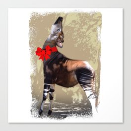 Okapi  with Red Bow Canvas Print