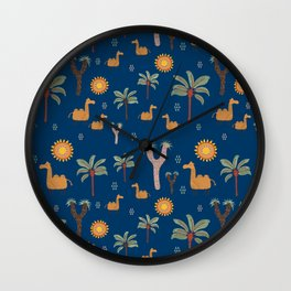Camel with palm trees and cactus Wall Clock