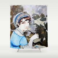jane austen Shower Curtains featuring Jane Austen by Makissima
