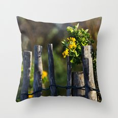 Yellow flower and wood fence Throw Pillow