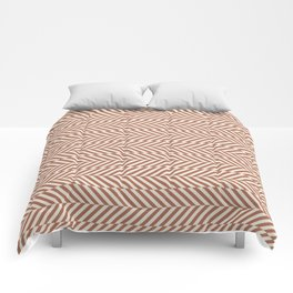 Cavern Clay SW 7701 and Creamy Off White SW7012 Hypnotic Stripe Pattern Comforters