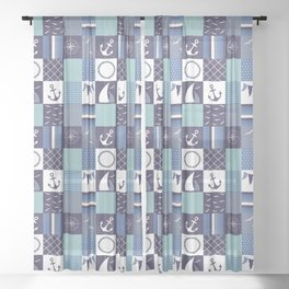 Nautical Blue Patchwork Pattern Sheer Curtain
