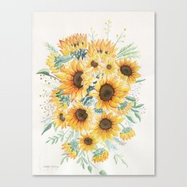 Loose Watercolor Sunflowers Canvas Print