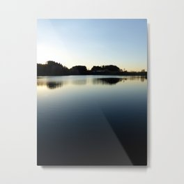 Indian summer sunset at the fishing lake V | waterscape photography Metal Print