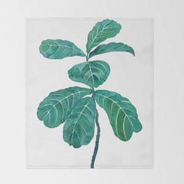 fiddle leaf fig watercolor Throw Blanket
