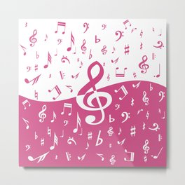 Cranberry Pink Music Notes with Wave Metal Print
