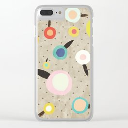 Flowers Vintage Brown Polka dots Clear iPhone Case