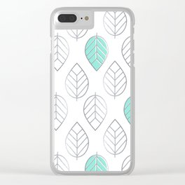 Silver Foil & Mint Leaves Pattern Clear iPhone Case