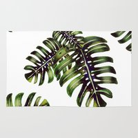 craftberrybush Area & Throw Rugs featuring Monstera leaf - watercolor  by craftberrybush