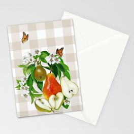 Pears On Plaid Stationery Cards
