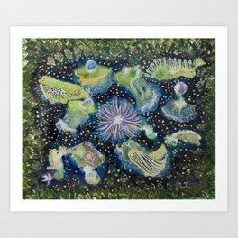 Fish, Clams and Eels, Oh My!   Art Print