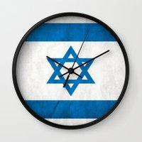 israel Wall Clocks featuring Israel Flag  by Jason Michael
