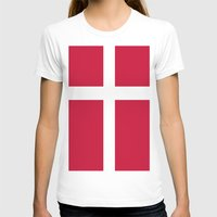 denmark T-shirts featuring Flag of Denmark by Neville Hawkins
