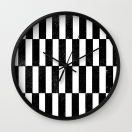 Minimal linocut black and white geometric pattern basic lines stripes Wall Clock