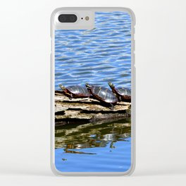 Turtles on a log Clear iPhone Case