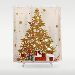 Cozy Christmas Gold Glittered Tree Presents Shower Curtain