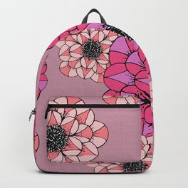 Pink Abstract Flowers Sketch Illustrated Pattern Backpack
