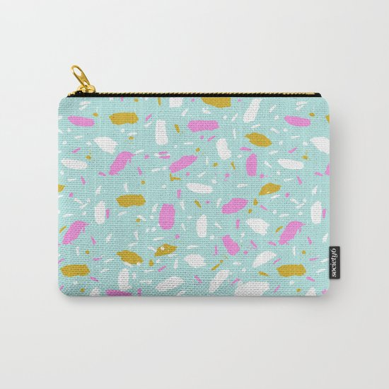 Terrazo mint pastel pink cute trendy modern abstract art painting painterly boho dorm college  Carry-All Pouch