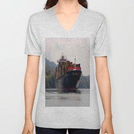 Cargo ship on the Panama Canal Unisex V-Neck