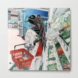 Mind Flayer Grocery Store Shopping Fantasy Art Metal Print