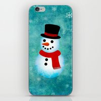 snowman iPhone & iPod Skins featuring snowman by vitamin